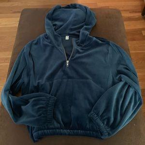 Cropped, velour blue hoodie